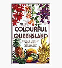 Vintage Visit Colourful Queensland Travel Poster Photographic Print