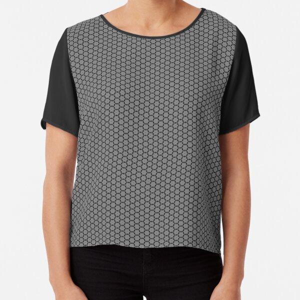 Black and gray pattern Chiffon Top