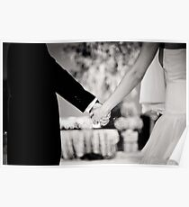Wedding couple bride groom holding hands back and white photo Poster