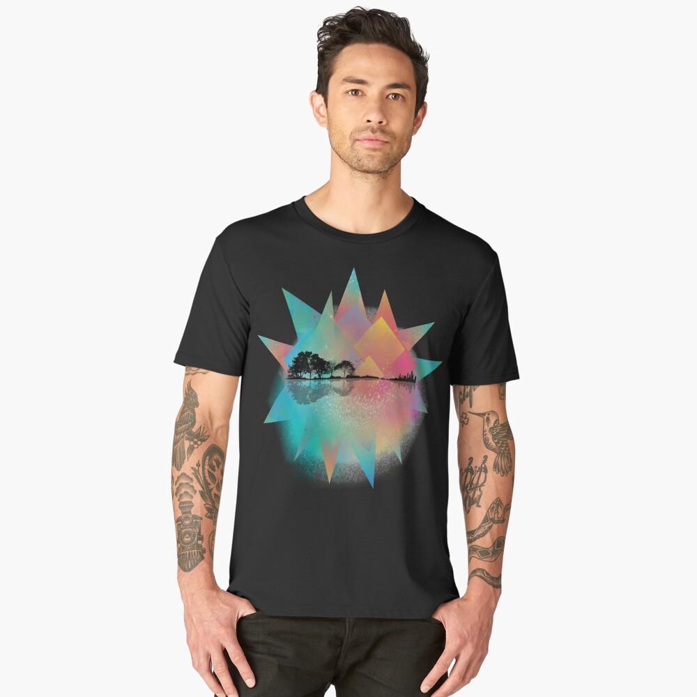 Colorful Geometric Nature Guitar Men's Premium T-Shirt Front