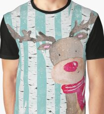 Winter Woodland Friends Deer Forest Animals Illustration Graphic T-Shirt