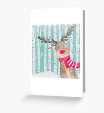 Winter Woodland Friends Deer Forest Animals Illustration Greeting Card