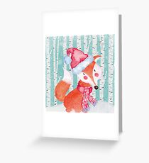 Winter Woodland Friends Fox Forest Animals Illustration Greeting Card