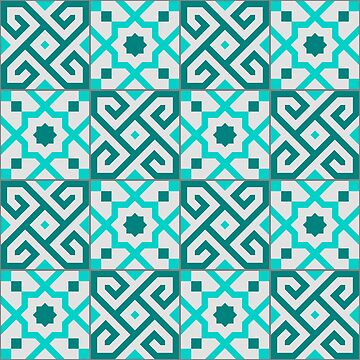 Geometric Pattern: Tiles: Blue by redwolfoz