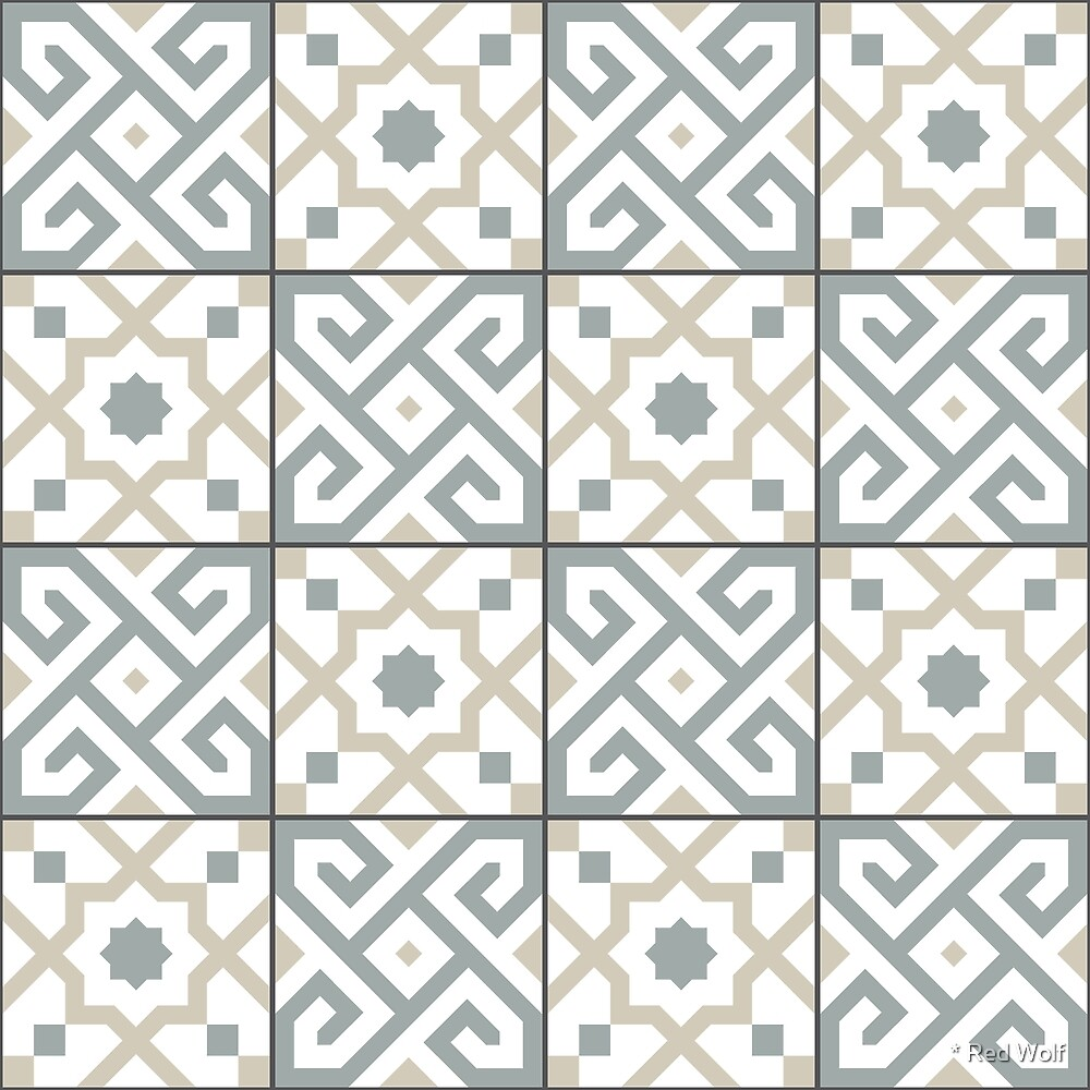 Geometric Pattern: Tiles: Grey by * Red Wolf