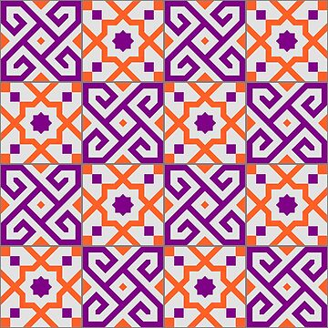 Geometric Pattern: Tiles: Purple/Orange by redwolfoz