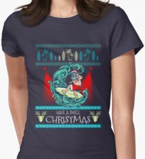 Surfing Ugly Christmas Sweater Shirt Knitted Style Xmas Tee Women's Fitted T-Shirt