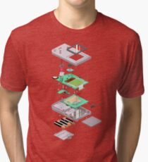 Lowpoly Vector Gameboy DMG Isometric Explosion View  Tri-blend T-Shirt