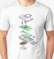 Lowpoly Vector Gameboy DMG Isometric Explosion View  Unisex T-Shirt