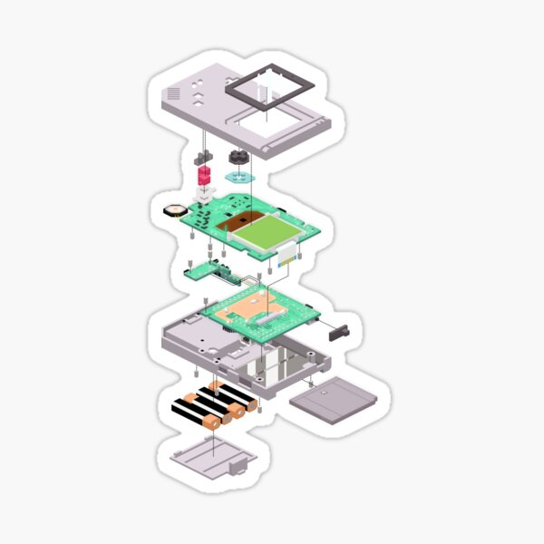 Lowpoly Vector Gameboy DMG Isometric Explosion View  Sticker