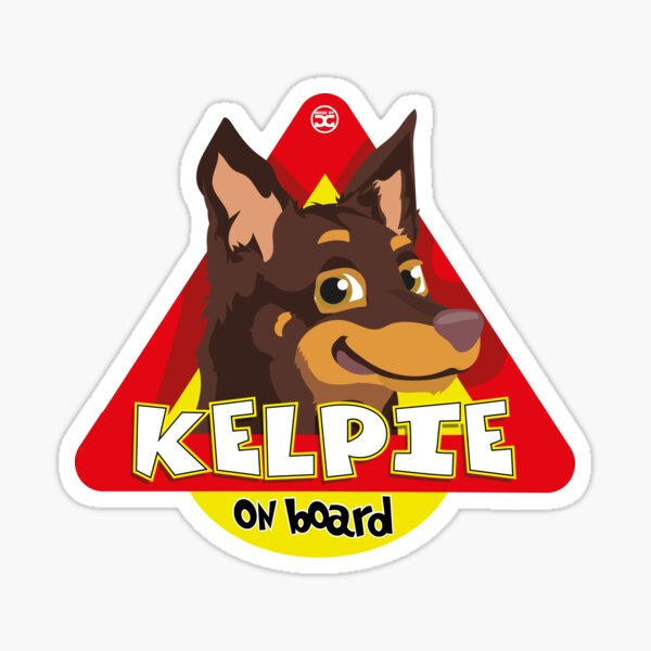 Kelpie On Board - Brown and Tan Sticker