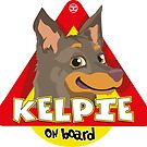 Kelpie On Board - Fawn and Tan by DoggyGraphics