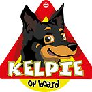 Kelpie On Board - Black and Tan by DoggyGraphics