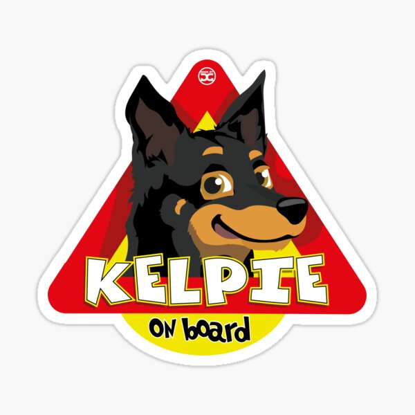 Kelpie On Board - Black and Tan Sticker