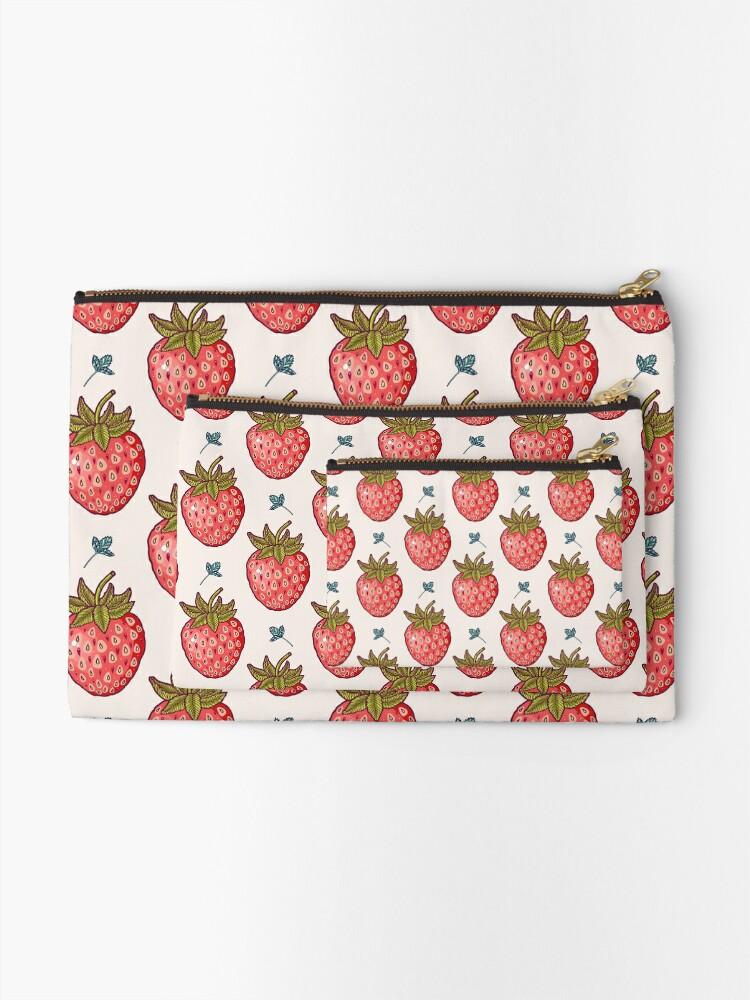 Alternate view of strawberry fields Zipper Pouch