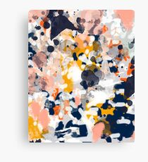 Stella - Abstract painting in modern fresh colors navy, orange, pink, cream, white, and gold Canvas Print