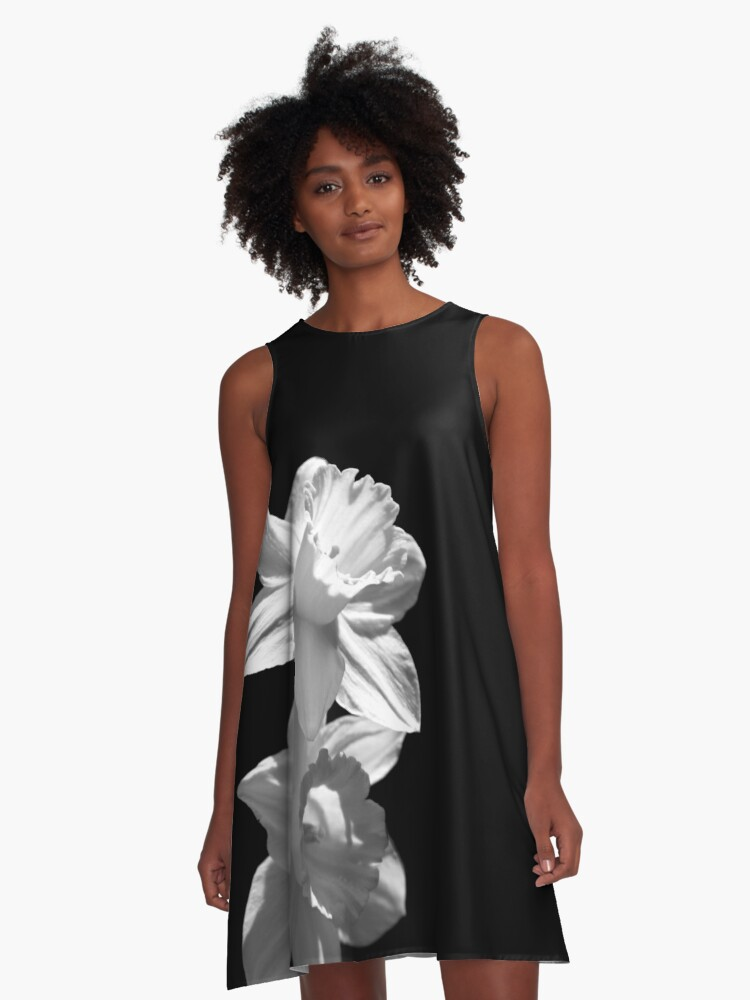 Daffodils in Black and White A-Line Dress Front