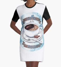 Coffee To The Rescue Graphic T-Shirt Dress