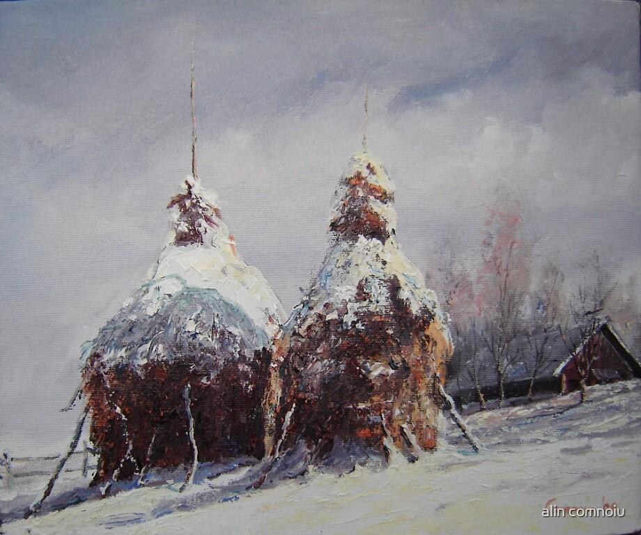 haystacks in winter by alin comnoiu