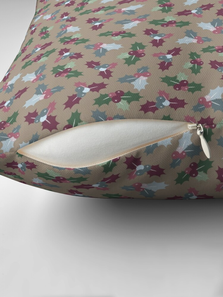 Alternate view of Holly Christmas Pattern Floor Pillow