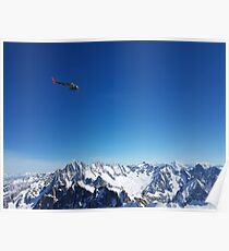 Helicopter over the Alps Poster