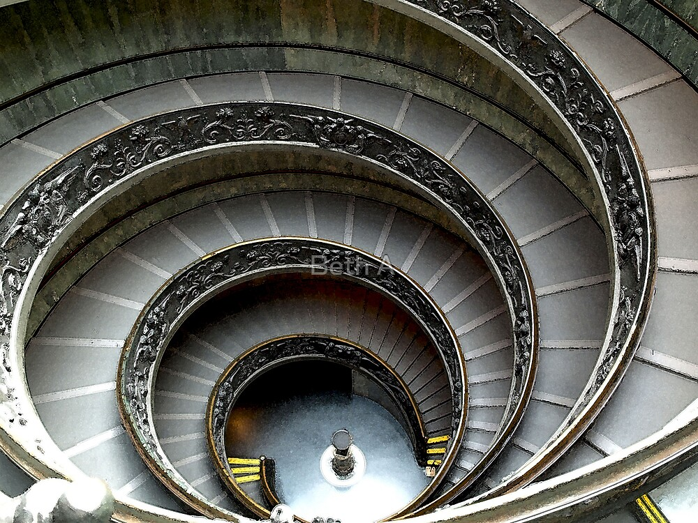 Staircase at the Vatican Museum by Beth A