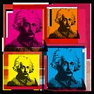 ALBERT EINSTEIN, ANDY WARHOL-STYLE 4-UP COLLAGE ILLUSTRATION by Clifford Hayes