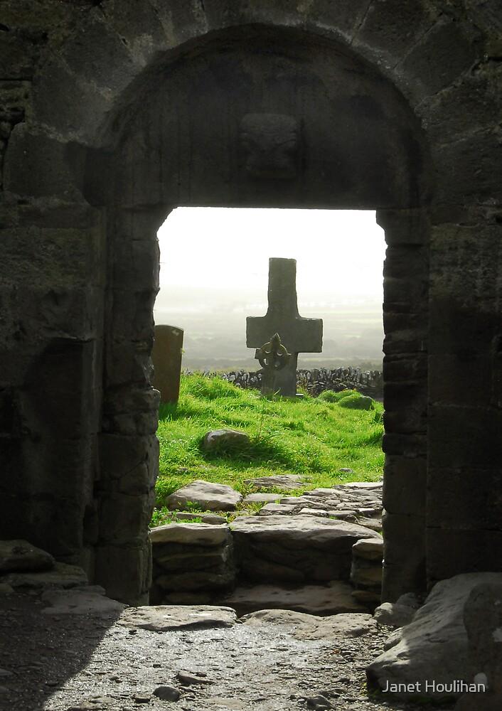 Stone church Stone cross, Ireland by Janet Houlihan