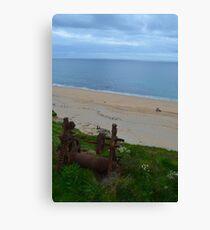 Slipway winch on beach, Cornwall Canvas Print