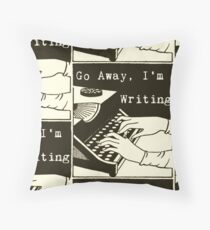Go Away, I'm Writing (Brown/Cream) Throw Pillow