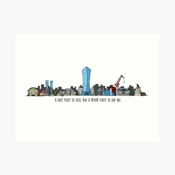 Dibujo de Skyline Bilbao Ciudad City Lámina artística