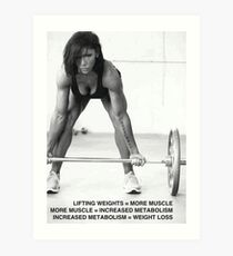 Weight Lifting Infographic For Women Art Print