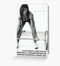 Weight Lifting Infographic For Women Greeting Card