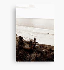 Slipway winch on beach, Cornwall - black and white Canvas Print