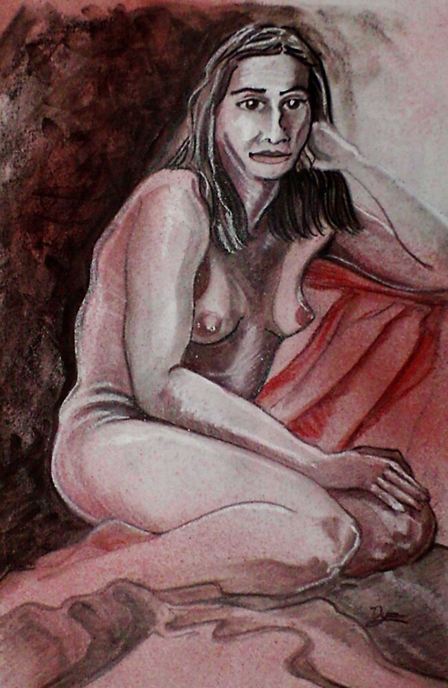 Female Nude Seated Aside (Drawing)- by Robert Dye