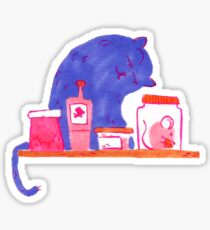 Cat with potions and mouse Sticker
