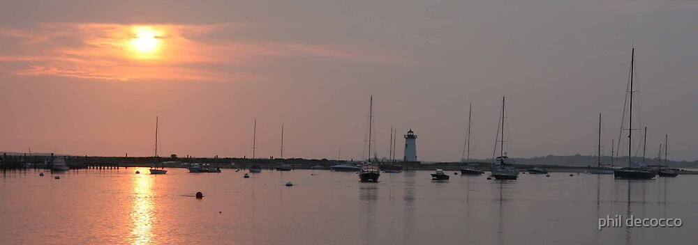 Sunset At Edgartown Light by phil decocco