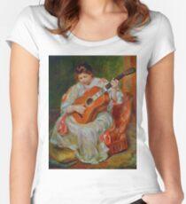 Vintage Pierre Renoir Joueuse De Guitare 1897 Fine Art Women's Fitted Scoop T-Shirt