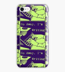 Go Away, I'm Writing (Navy/Lime) iPhone Case/Skin