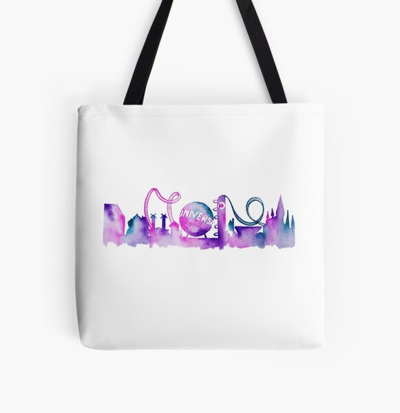 Orlando Theme Park Inspired Watercolor Skyline Silhouette All Over Print Tote Bag