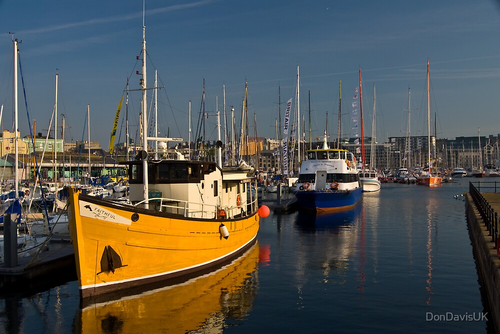 Plymouth Sutton Harbour Yellow Boat by DonDavisUK