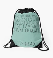 complicated relationship with my favourite fictional character Drawstring Bag