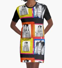 QUEEN ELIZABETH THE FIRST, OF ENGLAND - WARHOL STYLE 4-UP COLLAGE ILLUSTRATION Graphic T-Shirt Dress