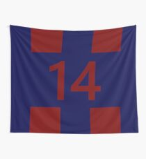 Legendary No. 14 in red and blue Wall Tapestry