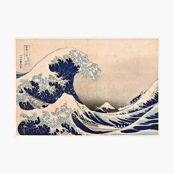 Classic Japanese Great Wave off Kanagawa by Hokusai Wall Tapestry Traditional Version HD High Quality Photographic Print
