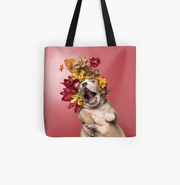 Flower Power, Luvable puppy All Over Print Tote Bag