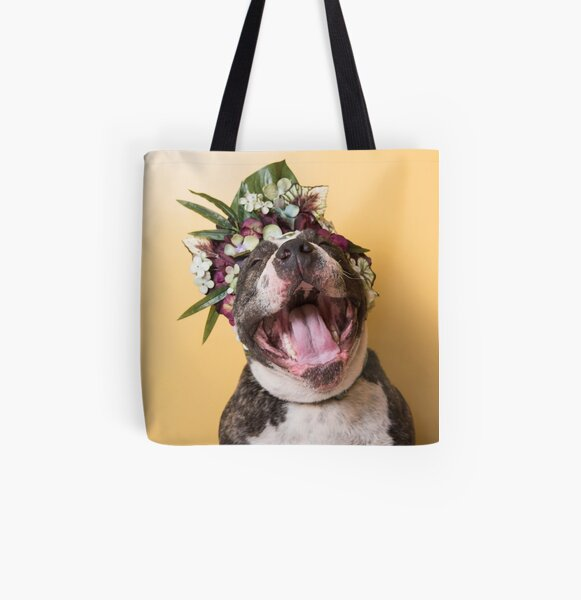 Flower Power, Luther laughing All Over Print Tote Bag
