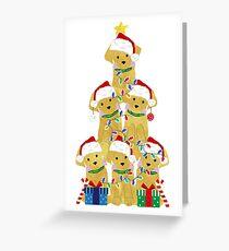 Holiday Preppy Golden Retriever Puppy Christmas Tree Greeting Card