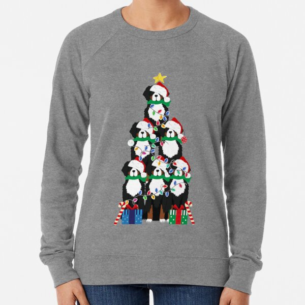 Holiday Bernese Mountain Dog Puppy Christmas Tree Lightweight Sweatshirt