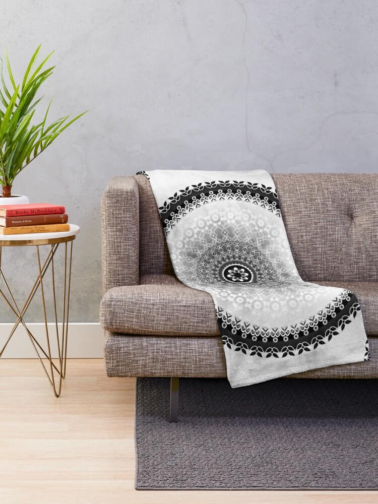 Alternate view of Grey Cloud Mandala Throw Blanket